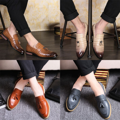 Men/'s Slip On Loafers PU Leather Pointed Toe Party Wedding Casual Tassel Shoes