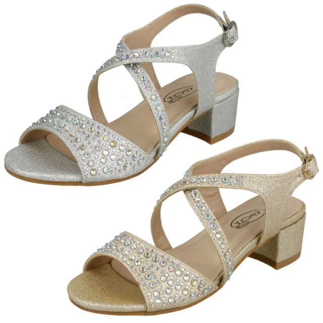 Girls Spot On Heeled Sandals UK Sizes 10-3 Fuchsia//White//Gold H1092