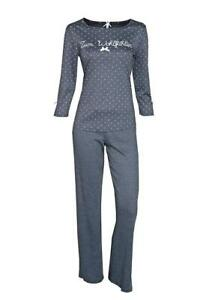 LOUIS-amp-LOUISA-034-Zum-Wohlfuehlen-034-Pyjama-Puenktchen-antrazit-Gr-M-NEU