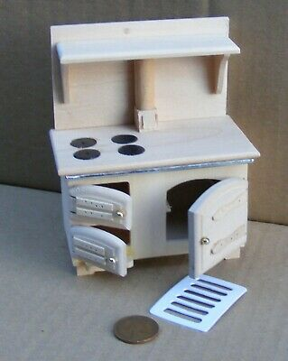 1:12 Scale Natural Finish Solid Fuel Stove Tumdee Dolls House Miniature 075