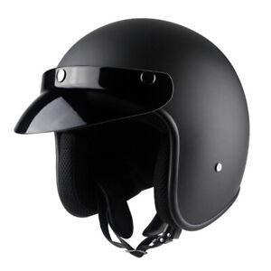 3-4-Open-Face-Motorcycle-Helmet-w-Sun-Visor-Cruiser-Scooter-Street-Bike-Black