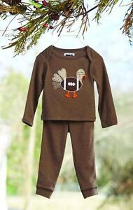 7e3dc35b4769 Mud Pie Baby Boys Thanksgiving Pajamas 2 Pc Set Football Turkey ...