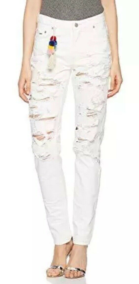 Pepe Ladies White Ripped Jeans W33 L32
