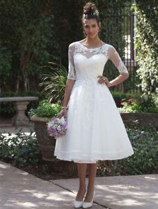 Short Lace Tea-Length Wedding Dress with 3/4 Length Sleeve Jacket A ...