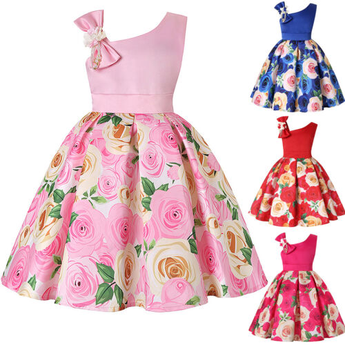 Kids Girls Floral Bowknot Swing Dress Wedding Party Bridesmaid Formal Dresses