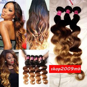 d78ec32b856 Details about Bundles Ombre 3 Tone Brazilian Body Wave Virgin Human Hair  Weave Weft 1B/33#/27