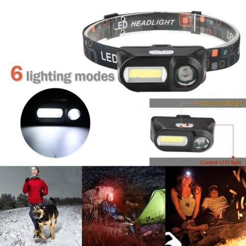 Super Bright Waterproof Head Torch Headlight LED USB Rechargeable Headlamp UK