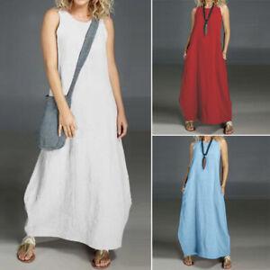 Women Sleeveless Casual Summer Tank Dress Off Shoulder Long ...