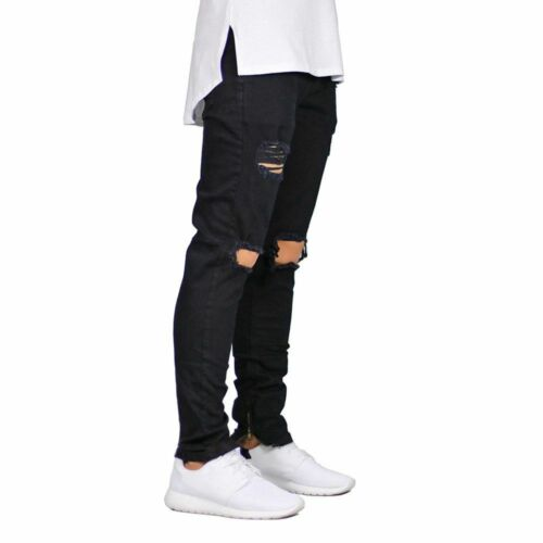 Ankle Zipper Skinny Jeans For Men Stretch Destroyed Ripped Boys Casual Pants New