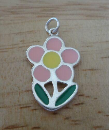 Sterling Silver 20x16mm Pink Green /& Yellow enamel Daisy Flower Charm