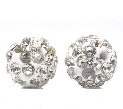 Großverkauf Weiß Strass Kugel Strassperlen Ball Perlen Beads Spacer 10mm