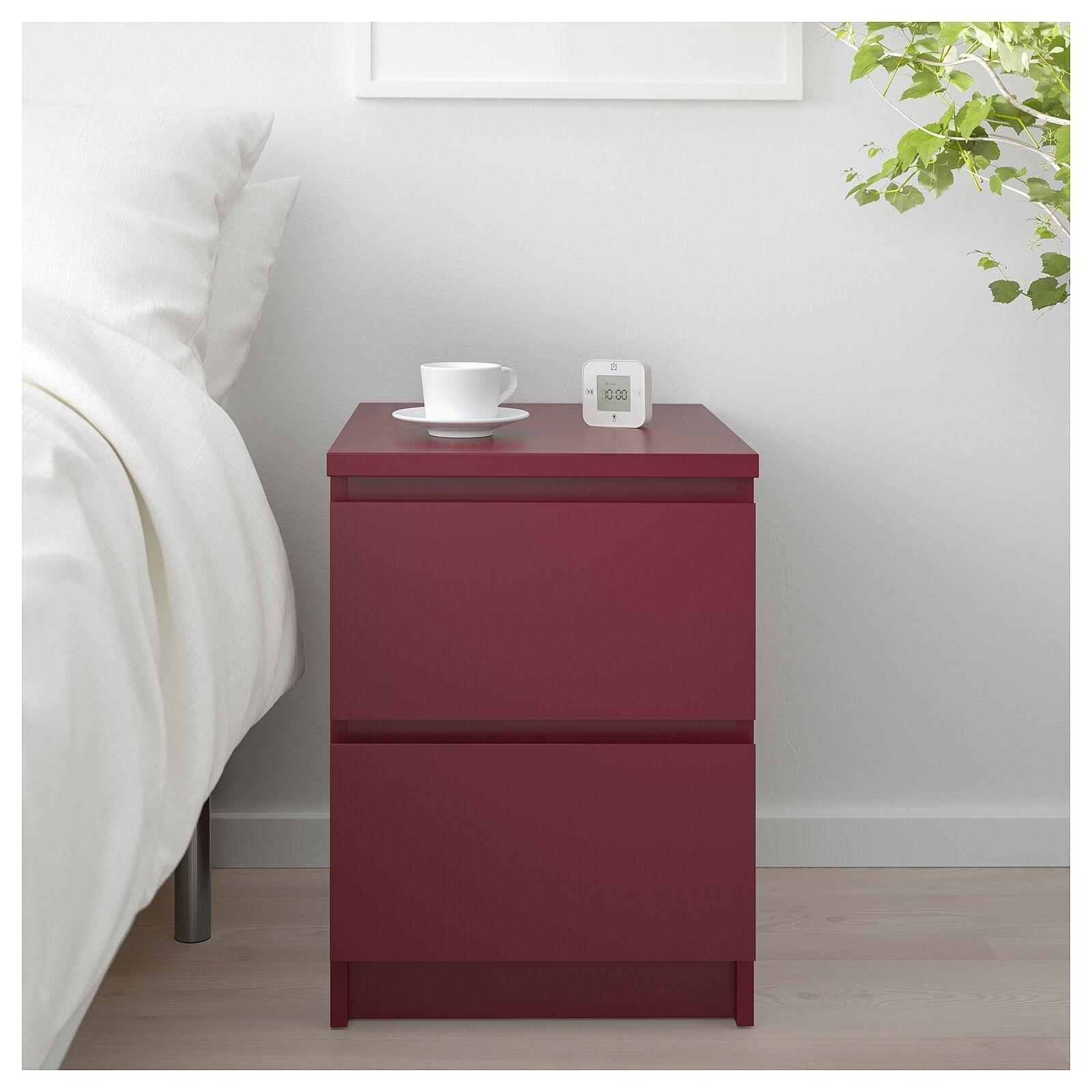Ikea Malm 2 Drawer Chest Nightstand Dark Red