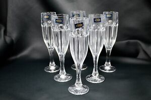Wedding Party Hand Blown glass Cap 4 Oz Set of 6 Luster Champagne Glass