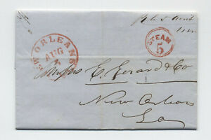 1851-New-Orleans-red-CDS-and-steam-5-in-circle-stampless-letter-5246-187