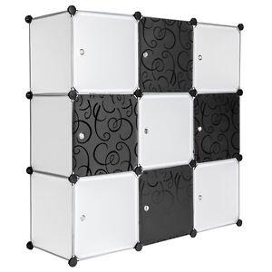 Armoires-plastique-Etageres-Meuble-rangement-112-cm-modulable-motifs-Noir-Blanc