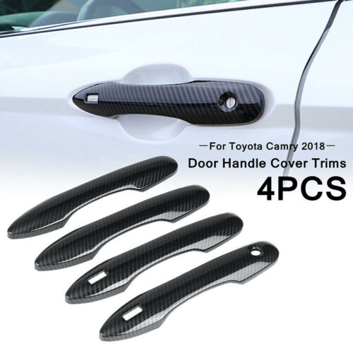 4Pcs//Set New Carbon Fiber Style Handle Cover Trim For Toyota Camry 2018