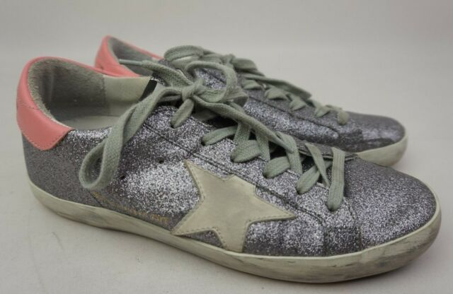 b07d103434b5 Golden Goose Superstar Silver Glitter Lace-Up Sneakers Women s Shoes Size 36