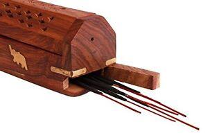 Regal Hand Carved Wooden Coffin Incense Stick / Cone Burner Holder with Storage