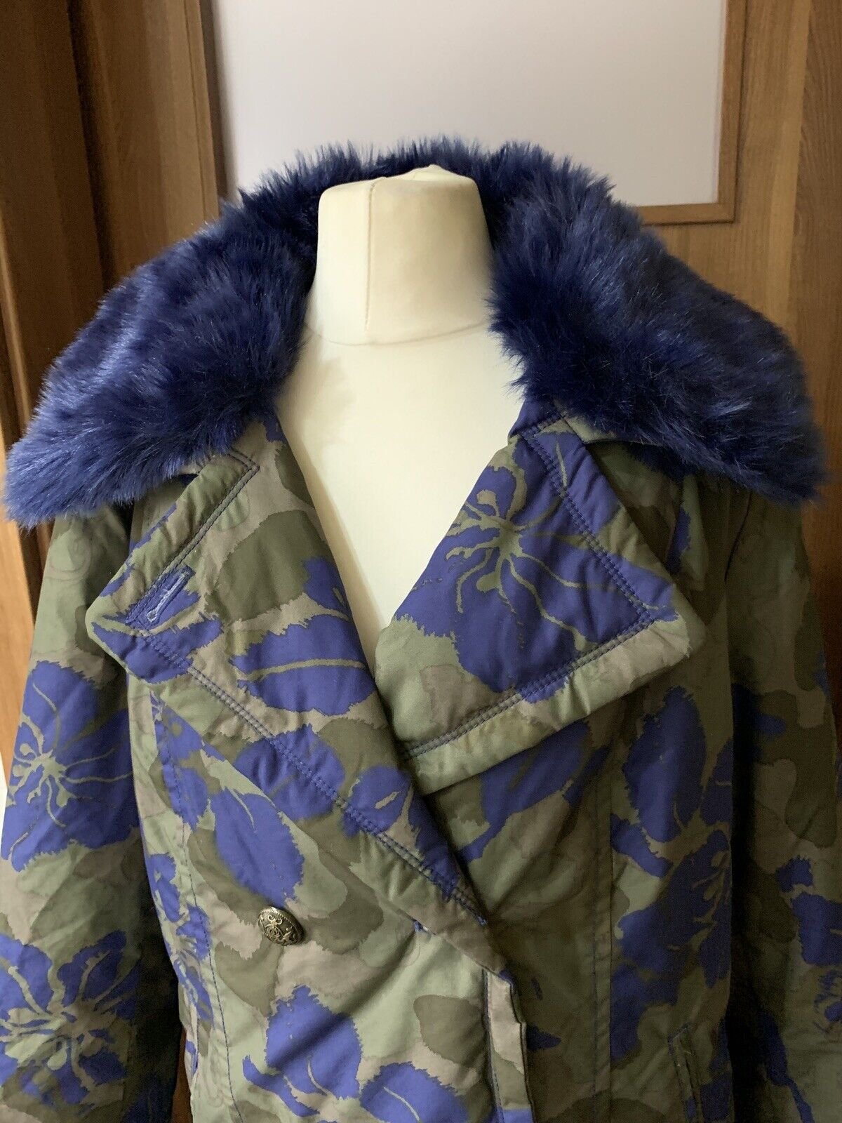 Bonprix Selection Premium Coat bluee bluee bluee Faux Fur Khaki Floral Camo Size fe0d19