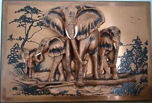 3D-Elephant-Family-Copper-Wall-Art-Sculpture