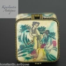 Handmade snuff / pill box painted Chinese or Japanese motive nice gift