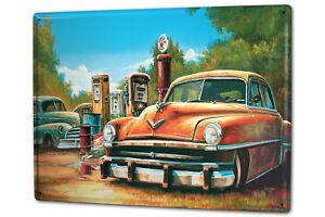 Cartel Letrero de Chapa XXL Garaje G. Huber Naufragio Vintage Gas Estaciones