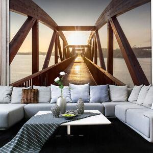 Details zu VLIES FOTOTAPETE 3D effekt Brücke Sonne TAPETEN WANDBILDER XXL  Wohnzimmer 080