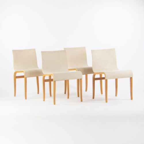 Set of Four Knoll International Bent Plywood Dining Chairs, Authentic Marked