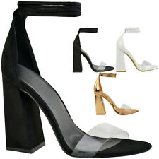 159b02e2043 item 3 New Womens Perspex Clear Block Heel Strappy Sandals Ankle Lace Tie Up  Size -New Womens Perspex Clear Block Heel Strappy Sandals Ankle Lace Tie Up  ...