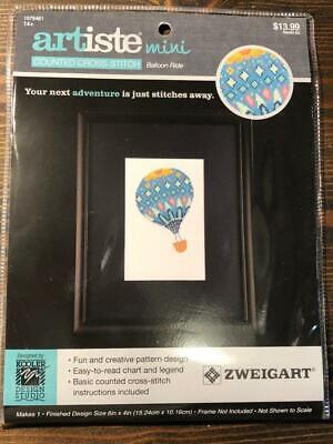 Artiste Mini Counted Cross Stitch Kit Hot Air adventure Balloon Ride Zweigart