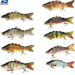 9PCS-Multi-Jointed-Bass-Muskie-Pike-Stripe-Fishing-Bait-Lot-Swimbait-Lure