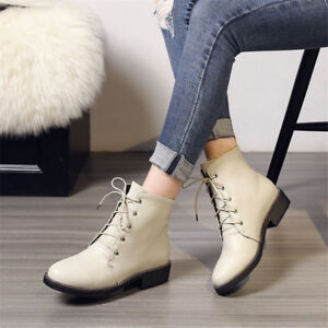 Fashion-Women-039-s-Ankle-Boots-Chunky-Heels-Round-Toe-Casual-Lace-up-Leather-Shoes