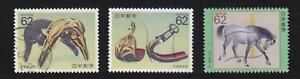 JAPAN-1990-HORSE-SERIES-2ND-ISSUE-COMP-SET-OF-3-STAMPS-SC-2033-2035-FINE-USED