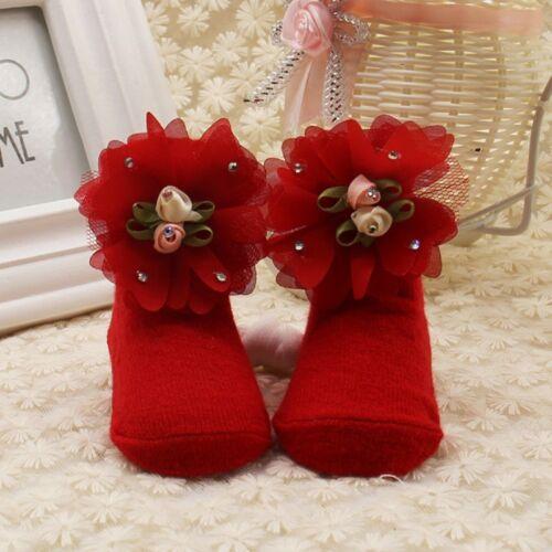 Infant Newborn Baby Girl Lace Flower Socks Warm Soft Slipper Soled Shoes 0-12M
