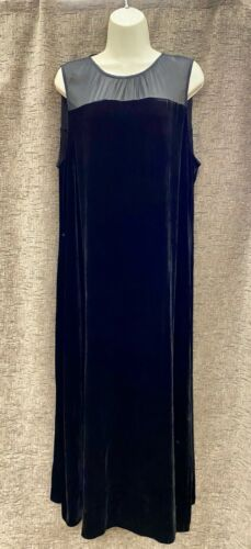 EILEEN FISHER Sleeveless Dress Velvet Rayon Silk L
