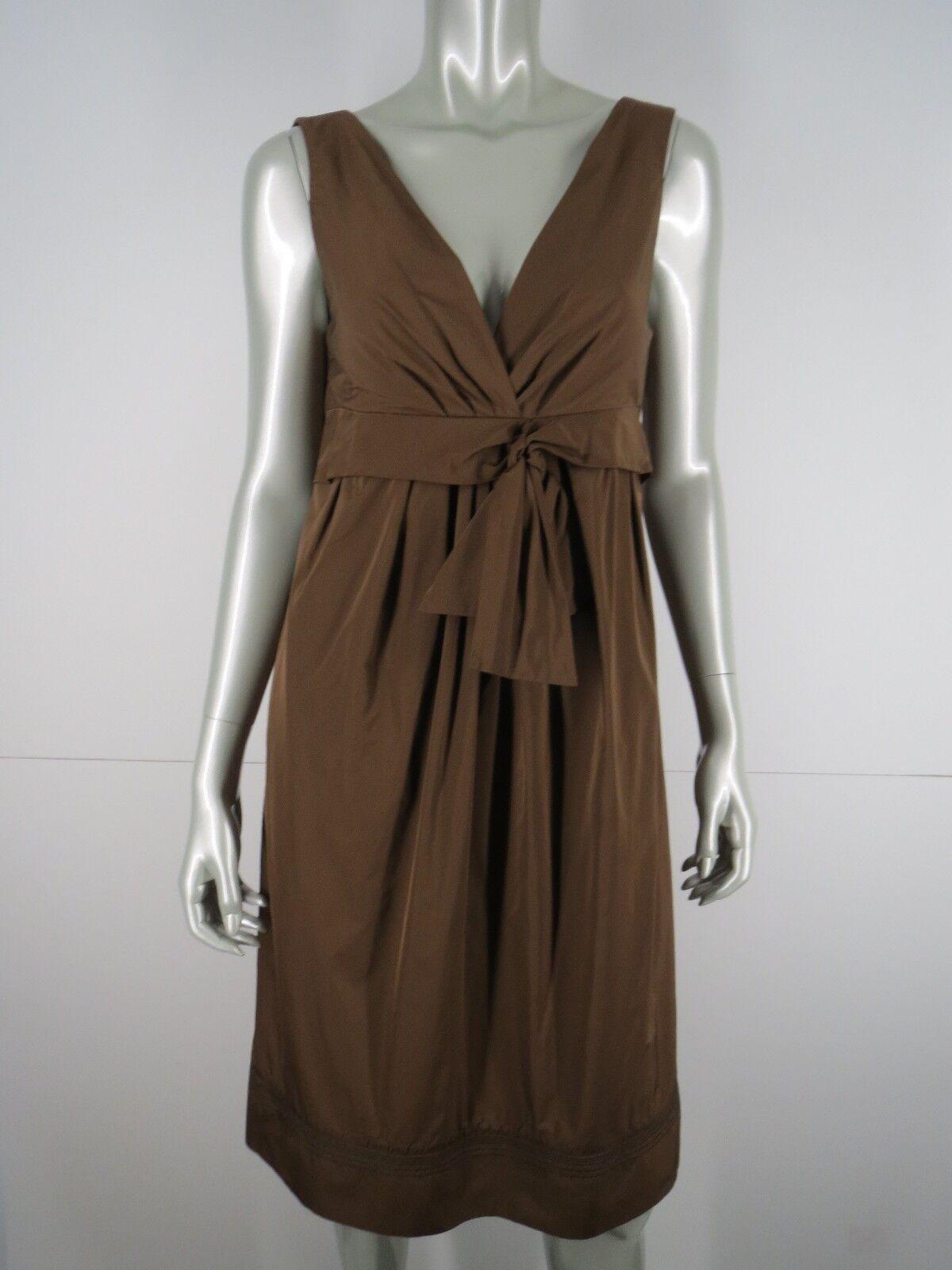 Lida Baday Dress Cocktail Party Größe 12 L Satin braun Sleeveless Ruched Sheath