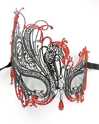 Black RED Glitter Rhinestone Swan Laser Venetian Mask Masquerade Metal Filigree