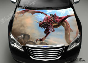 Red Dragon Car Vinyl Graphics Car Bonnet Full Color Graphics Vinyl - Graphics for car bonnets