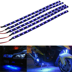 5-X-Blau-15-LED-30cm-Car-Grill-Flexible-Wasserdicht-Licht-Strip-SMD-12v-Verkauf
