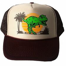 Dinosaur Dino Sunset  Snapback Mesh Trucker Hat Cap Brown Tan