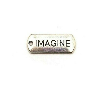 22-10-1 6 Antique Silver Imagine Word Charms