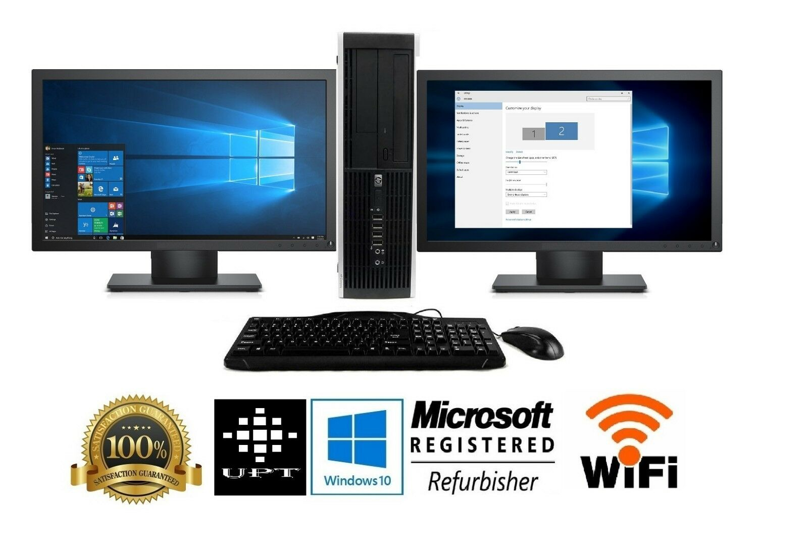 hp Desktop PC Computer Core 2 Duo 240GB, 16GB DUAL 19″ Wide LCDs WiFi Windows 10