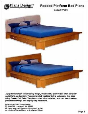 Platform Twin Full Queen King Bed Plans Patterns Woodworking Plans 753182758725 Ebay