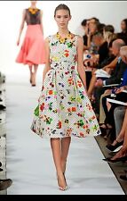 $1K OSCAR DE LA RENTA WHITE FLORAL POLKA DOT SHEATH DRESS 6 $1150