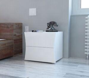 Comodino di design a 2 cassetti sagomati, bianco lucido, linea arco ...