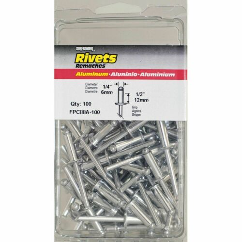"1//4/"" Diameter 1//2/"" Grip 100 Count FPC88A-100 Long Aluminum Rivets"