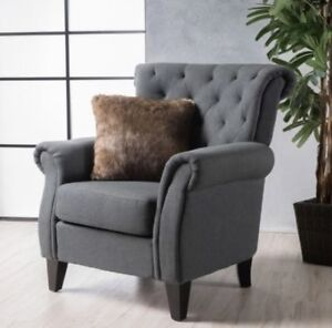 Image Is Loading Dark Gray High Back Tufted Fabric Club Chair