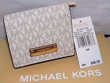 Authentic MICHAEL KORS MK Vanilla Signature Jet Set carryall card case wallet NT