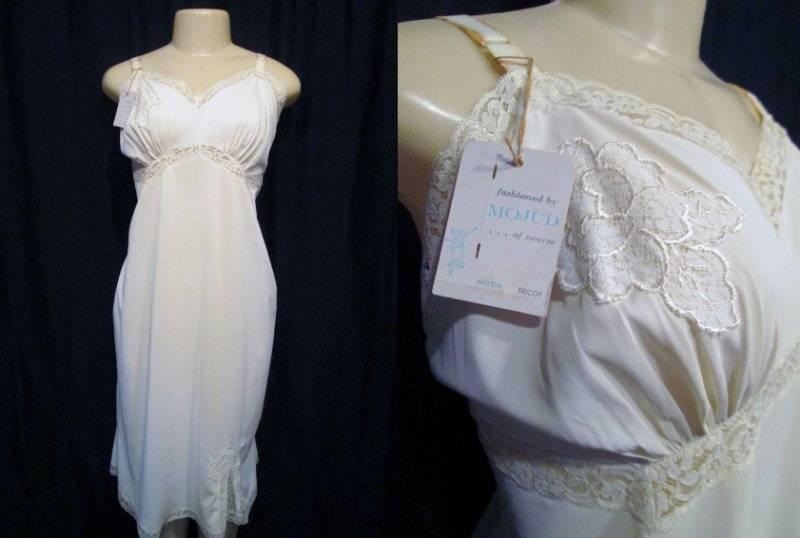 9bda9fe81 White Nylon FULL Slip Lace 40 NOS New Vintage 50s MOJUD T TALL Lace Tricot  nospbf25299-Slips & Petticoats
