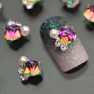 10pcs 3D Nail Art Decoration Multicolor Rhinestone Crystal Alloy Glitter Jewelry